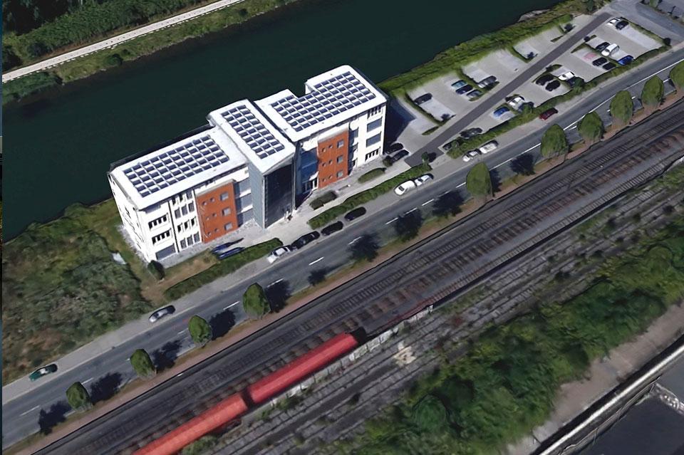 Architekturbüro Hinkelmann | Luftaufnahme des Firmensitz, Hafenstrasse 14,59067 Hamm